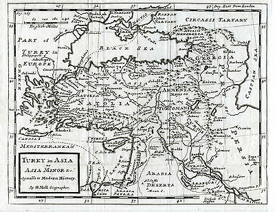 c.1730 Genuine Antique map of Turkey in Asia, Asia Minor. Herman Moll