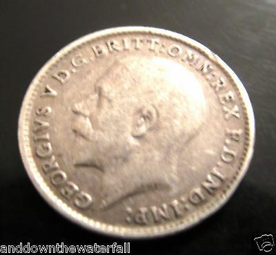 SOLID SILVER Three pence 1915 Coin II Antique Vintage World War I King George UK