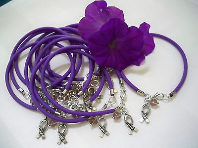 12 CT.  PURPLE  PANCREATIC CANCER/ALZHEIMER'S/ LUPUS AWARENESS  BRACELETS   (Purple Cancer)