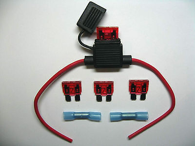 In Line standard waterproof Blade Fuse Holder fuses 10a 10amp kit car boat bike