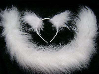 Persian Cat Ears And Long Tail Set White Luxury Faux Fur Fancy Dress Gorgeous ()