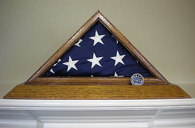 3 X 5 OAK FLAG DISPLAY CASE BOX WITH COIN SLOT US AMERICAN MILITARY CAPITAL USA (Us Flag Display Case)