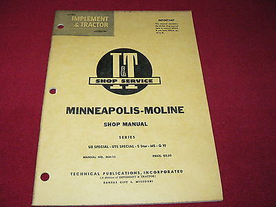 Minneapolis Moline Ub Special Uts Special 5 Star M5 Tractors It Shop Manual