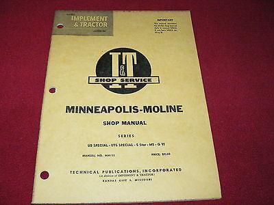 Minneapolis Moline Ub Special Uts Special 5 Star M5 Tractors It Shop Manual