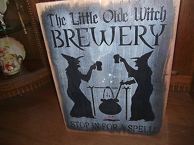 LITTLE WITCH BREWERY primitive wood sign Halloween