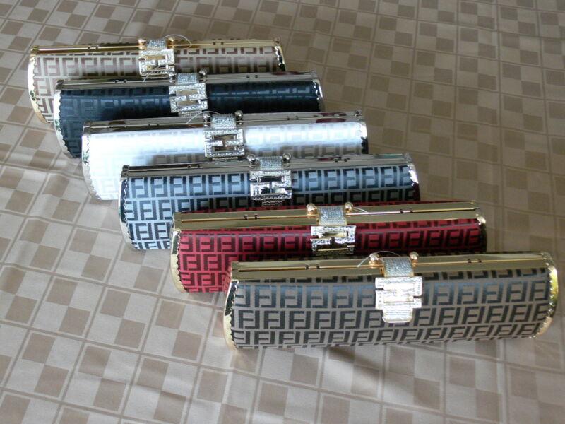 New Hard Case Bridal/Evening Clutch w/ Rhinestone Lock