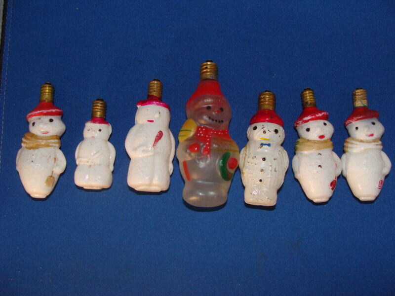 (Lot of 7) Vintage Snowman Light Bulbs