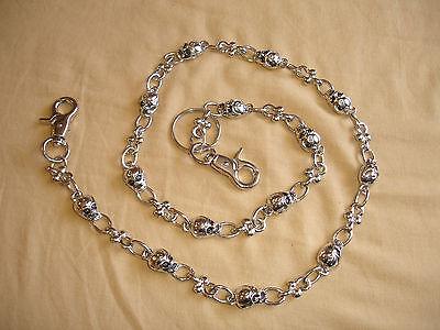 Silver Multi Skull Horse Shoe Attach Biker Metal Jean Wallet Key Chain Two Hooks