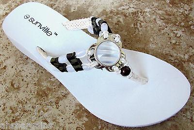 White Beaded Braided Strap EVA  Wedge Thongs Flip Flops Sandals  Size 6 7 NEW Strap Wedge Flip Flops