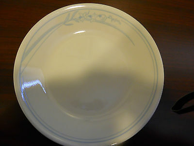 - 2 PC CORELLE DINNERWARE BLUE LILY DESSERT PLATES LIGHT BLUE BEIGE LILLY
