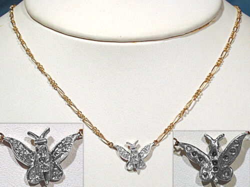 SOLID 14K GOLD & DIAMONDS BUTTERFLY NECKLACE