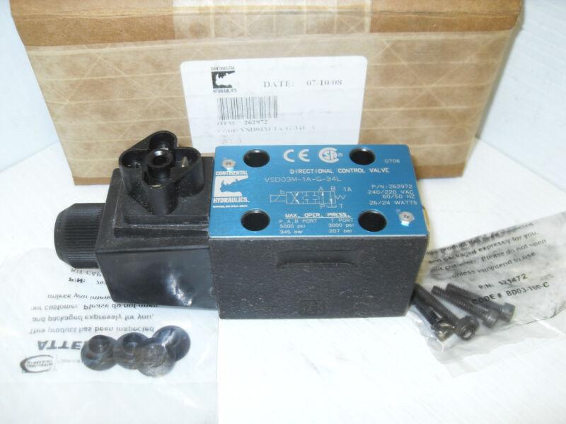 ***NEW*** CONTINENTAL VSD03M-1A-G-34L HYDRAULIC DIRECTIONAL CONTROL VALVE 240Vac