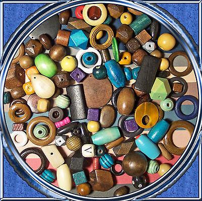 20 große kunterbunte Mix Holzperlen 20 - 45 mm Kinderperlen Holz Basisqualität