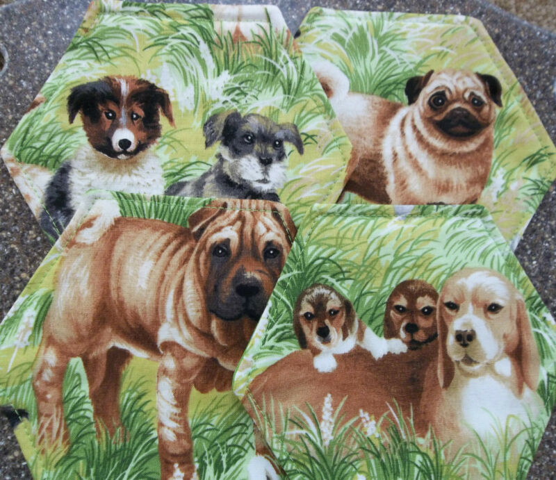 Dog Lovers Coasters Handcrafted Set ( 4 )