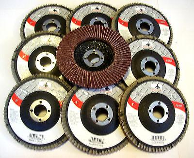 "10 GOLIATH INDUSTRIAL 4"" FLAP DISCS 40 GRIT FD440 ANGLE GRINDER SANDING WHEELS"