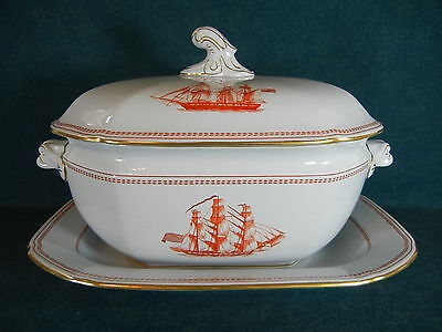 Copeland Spode Red Trade Winds W128 Large Soup Tureen with Lid and Under Plate