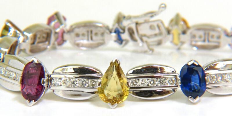 █$11500 8.25CT NATURAL FINE GEM VIVID COLORS SAPPHIRE DIAMOND BRACELET 14KT