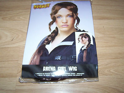 Spirit Arena Girl Character Halloween Costume Wig Long Brown Hair Braid - Spirit Halloween Brown Wig