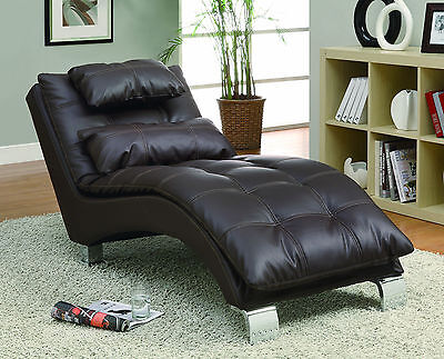 Brown Leather Chaise - PILLOW TOP LEATHER LIKE BROWN CHAISE RECLINER RECLINING CHAIR & ACCENT PILLOW