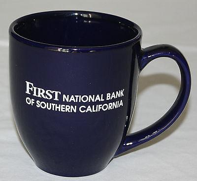 Mug First National Bank of Southern California Cobalt Blue Curved Coffee 12 oz