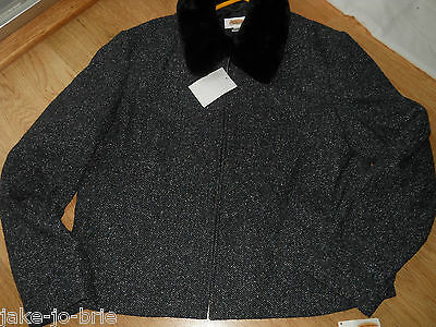Faux Silk Coat (Talbots ladies Wool Silk Coat Jacket Size 12 Removable Faux Fur Collar Heavy NEW)