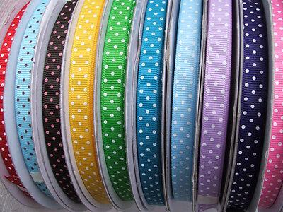 Swiss Dot Ribbon (Swiss dot grosgrain ribbon 3/8th inch  - 2m lengths colour choice)