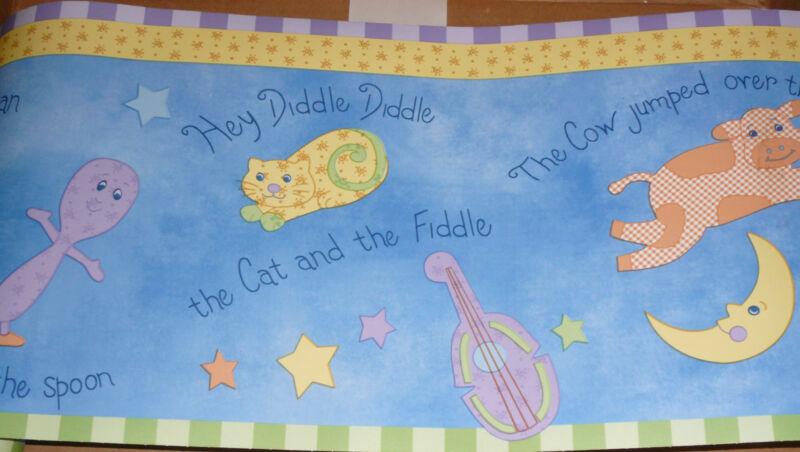 WALLPAPER BORDER Kidsline wall nursery rhyme cow fiddle spoon Fly Me To The Moon