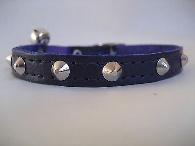 LEATHER PURPLE SMALL STUDDED CAT COLLAR