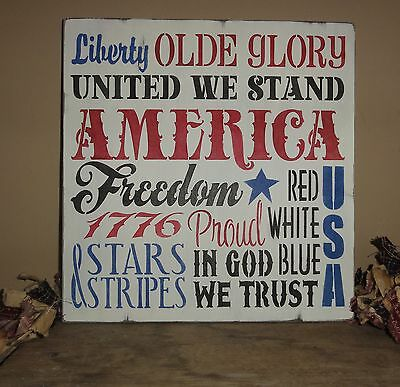4th Fourth of July Independence Day America Red White and Blue Sign - Fourth Of July Signs