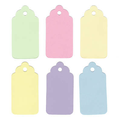 50 MEDIUM SCALLOPED  GIFT PRICE TAGS MIXED PASTEL