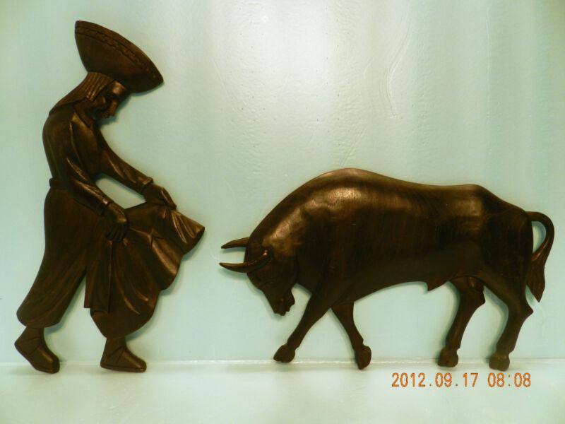 Wood Hand Carved Originals, 2 Pcs, Wall Art, Sculpture, Matador & Bull **NICE!**