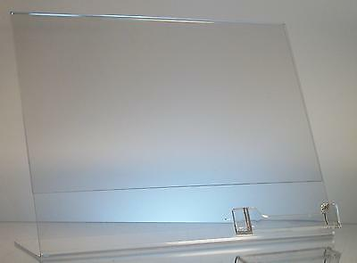 Clear acrylic 11 x 8.5 slanted sign holder display with business card holder