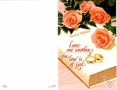 Wedding Bulletin Pink Roses, Rings, Bible, White, Lace 8 1/2