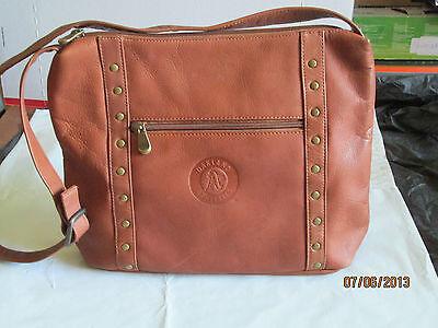 NWOT $160 MLB Okland A's Athletic Vacquetta Leather Women's Top Zip Handbag  TAN ()