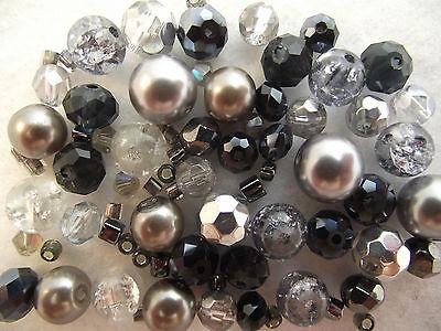 Glass Bead Mix / Bracelet Making Kit - Silver & Grey - Sassy Steel ()