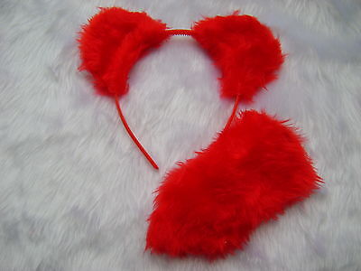 Bright Red Teddy Bear Ears And Stubby Tail Set Handmade Fancy Dress Unique Item