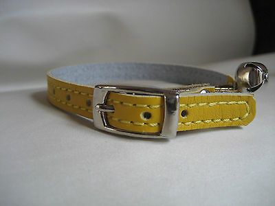 LEATHER YELLOW CAT COLLAR