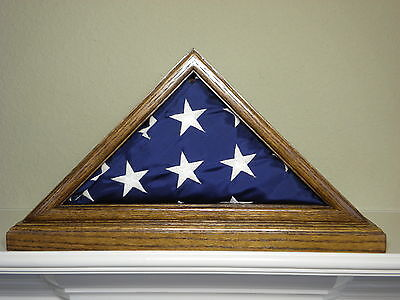 3 X 5 OAK FLAG DISPLAY CASE WITH BASE CAPITAL EAGLE SCOUT US MILITARY SHADOW BOX (Us Flag Display Case)