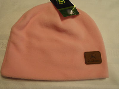 JOHN DEERE One Size Pink Polyester Fleece Winter Hat Cap Beanie NWT John Deere Poly Fleece