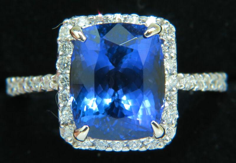 █$8200 Natural 6.23ct Tanzanite Halo Diamond Ring A+ Cushion Cut & Luster Vs