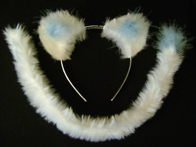 White/Blue Snow Leopard/Cat/Polar Bear/Lion Ears & Tail