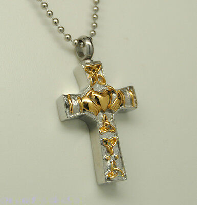Two-Tone Claddagh Cross Cremation Urn Necklace in Gold over Stainless Steel (Claddagh Cross Necklace)