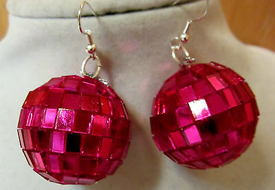 BLING 70's 80's HOT PINK GLASS DISCO BALL 925 EARRINGS Handcrafted USA Nora's](80s Disco Ball)