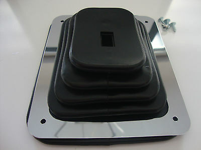 "HURST B&M STYLE RUBBER SHIFTER BOOT W/CHROME PLATE 5 5/8""X6 3/4"" UNIVERSAL #9630"