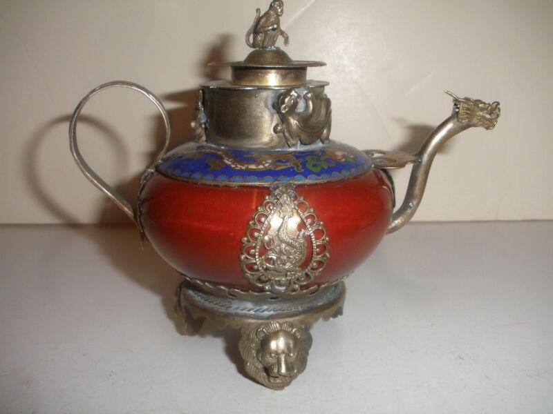 NICE CHINESE TIBET TEAPOT TEA POT PORCELAIN POTTERY CLOISONNE DRAGON MONKEY SIGN