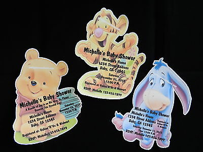PERSONALIZED WINNIE THE POOH TIGGER EYORE BABY SHOWER INVITATION THANK YOU CARDS - Personalized Winnie The Pooh Baby Shower Invitations