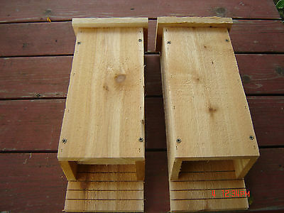 Set of Two 3 Chamber Handcrafted Bat House, Box made from Cedar Mosquito Control