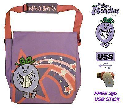 Mr Men Little Miss Naughty Womens Girls Messenger School Bag Satchel + 2gb USB