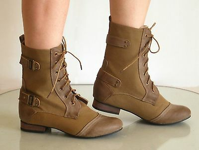 - New Womens Military Design Lace Up Short Boots Booties
