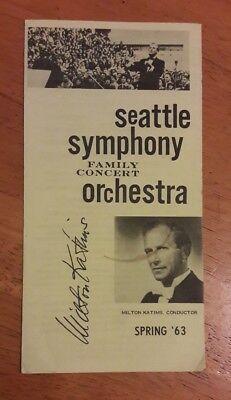 1963 MILTON KATIMS AUTOGRAPH SEATTLE SYMPHONY ORCHESTRA PLAYBILL 00182
